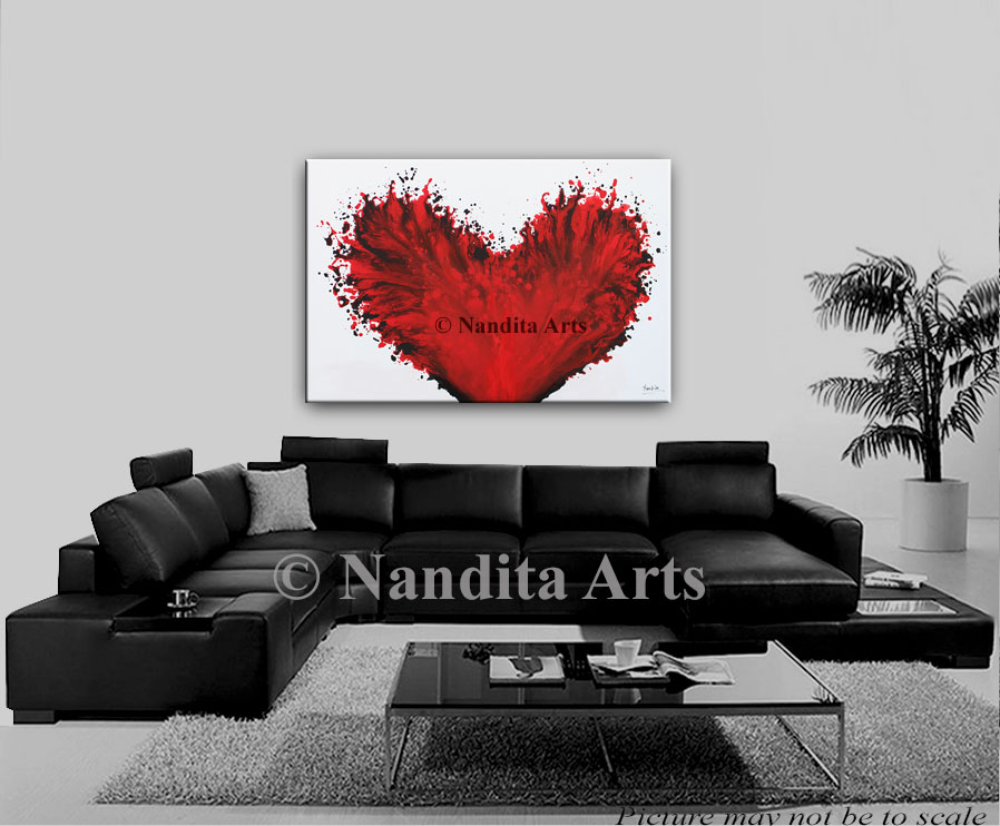 Valentine, Red Heart Painting by Nandita Albright