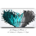 Turquoise, Gray, Water color Painting
