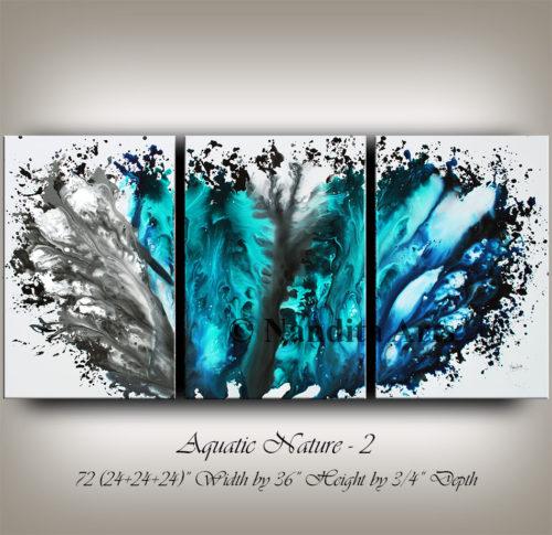Aquatic Nature, Ocean Wave, Turquoises, Modern art