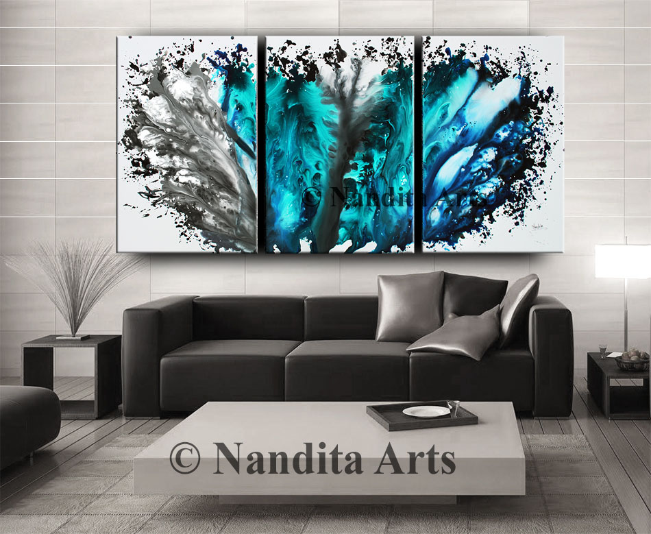Aquatic Nature, Ocean Wave, Turquoises, Modern art