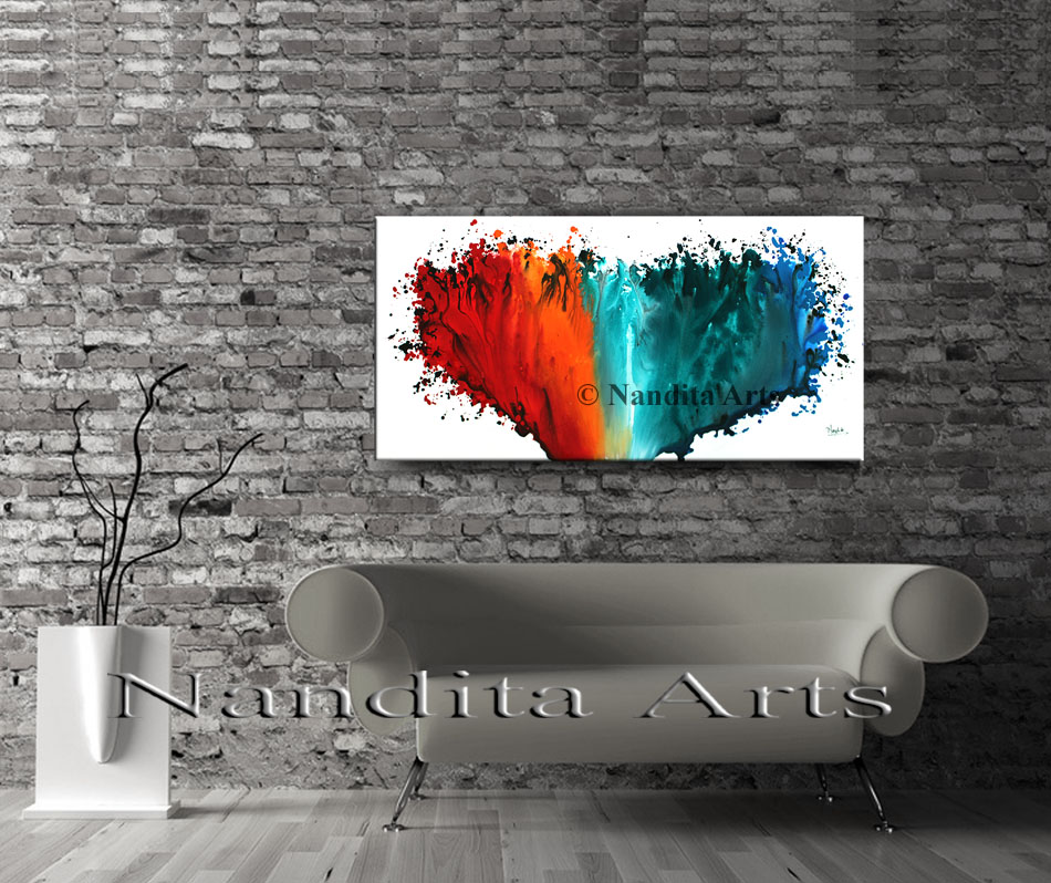 Red Wall Art, Red Home Decor, Red Paintings