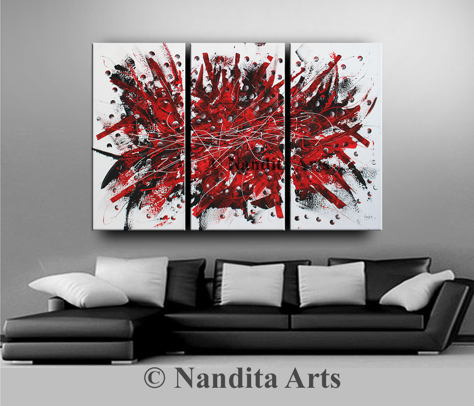 Red Painting, Red Wall Decor, Red Modern Painting, Red Abstract Office Decor