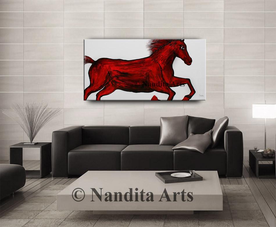 Horse Painting, Horse Art, Animal Art, Red Wall Art