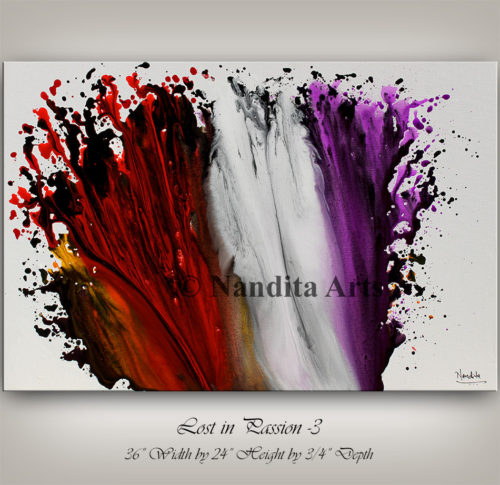 Purple, Red and White Artwork by Nandita Albright