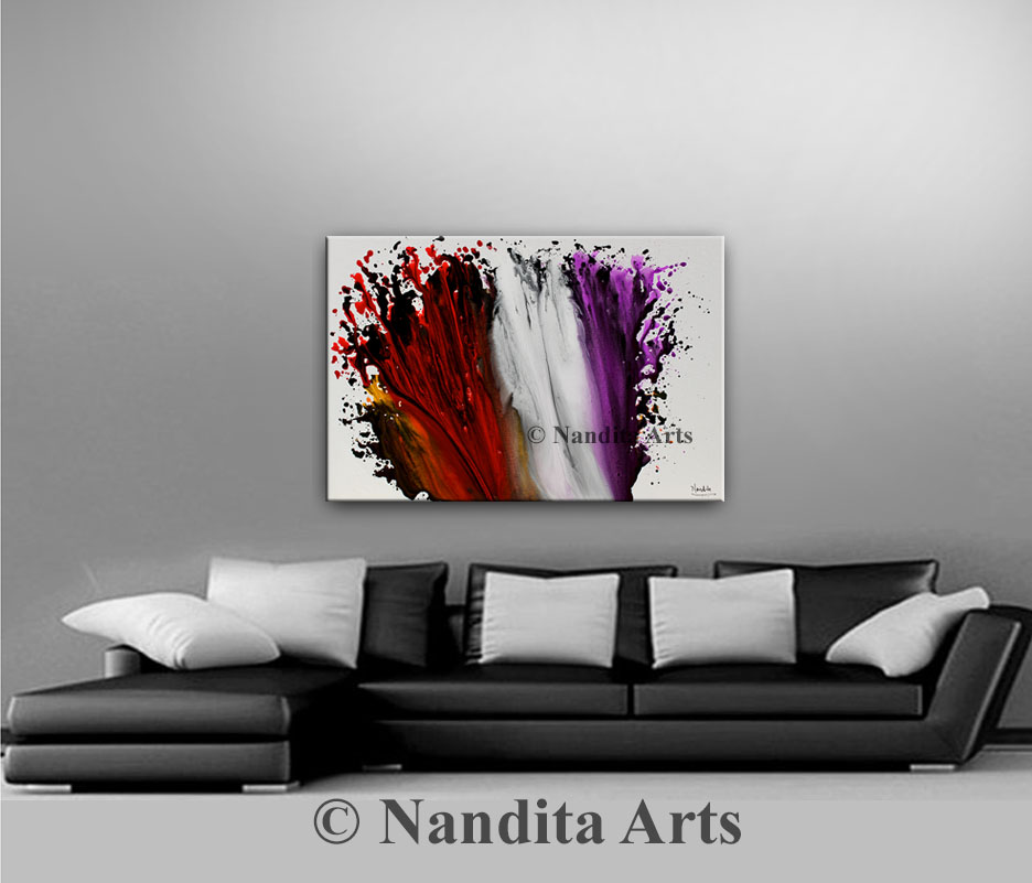 Purple, Red and White Artwork by Nandita Albright