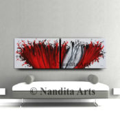 Red Painting, Valentine, Red Artwork by Nandita Albright