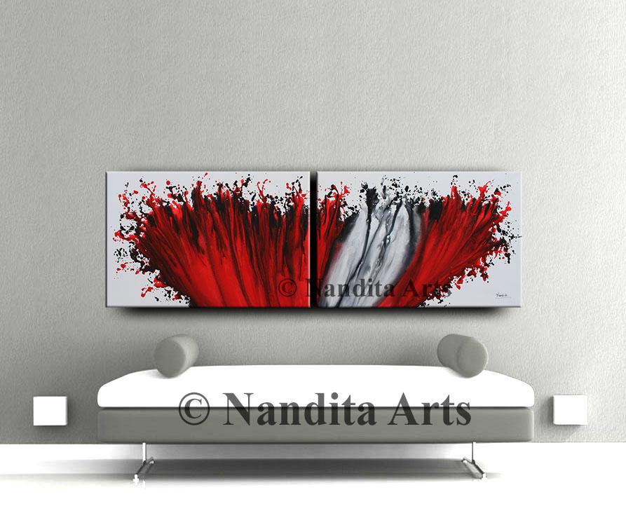 Red Painting, Valentine, Red Artwork by Nandita Albright