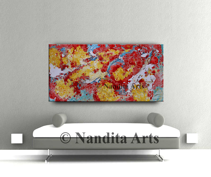 Red Painting, Red Artwork, Extra large Artwork
