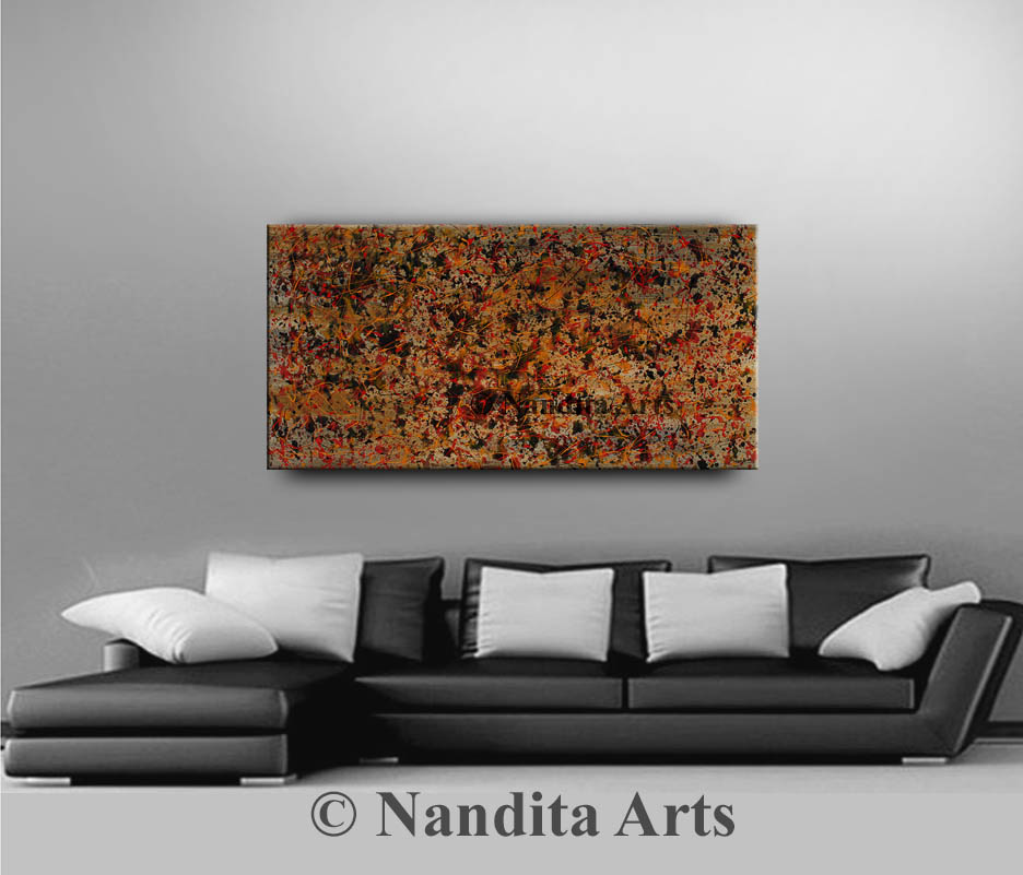 Red Painting, Abstract Art, Jackson Pollack Style