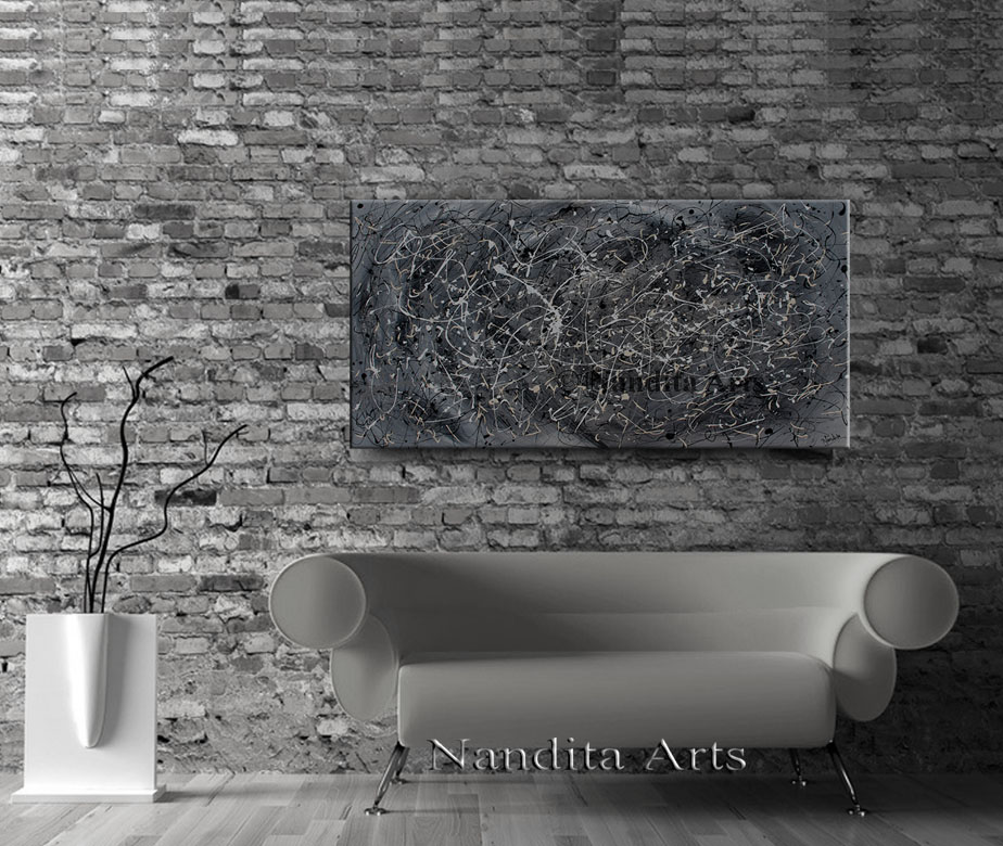 Gray Painting, Abstract Wall Art, Jackson Pollack Style Artwork