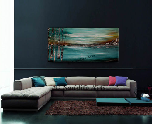 Turquoise Landscape Painting