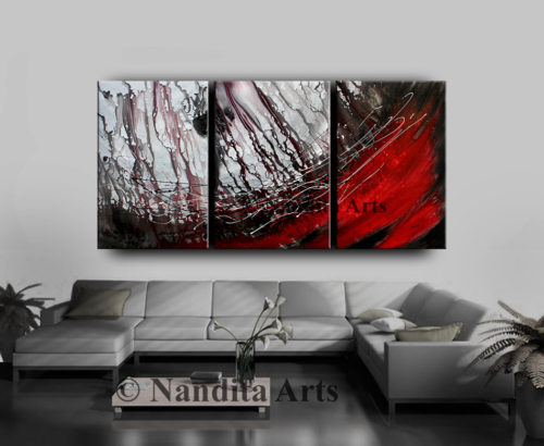 Red Modern Painting on Canvas