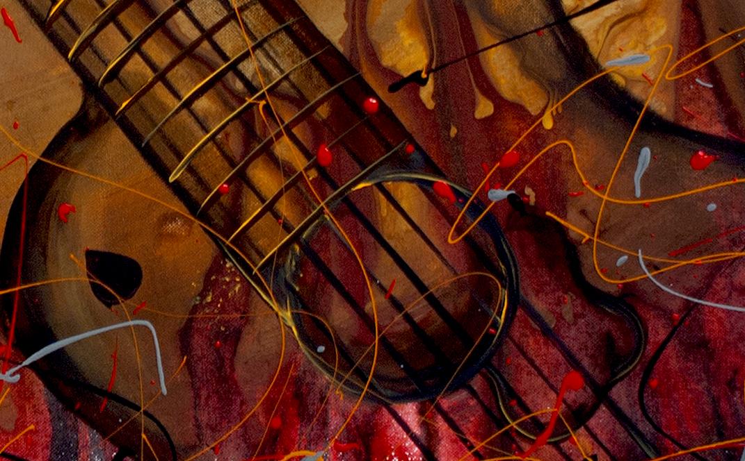 earth color guitar art by Nandita