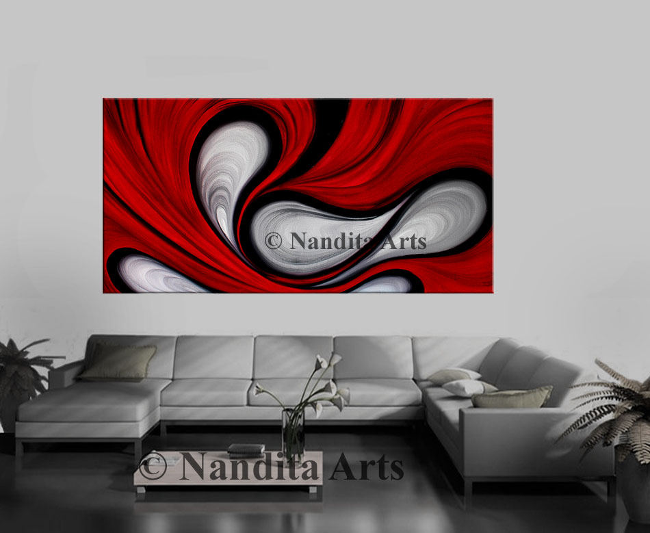 Red home decor painting