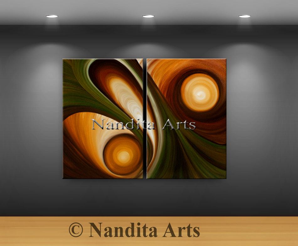 oil painting, large artwork, large modern art, olive color art, dark brown,