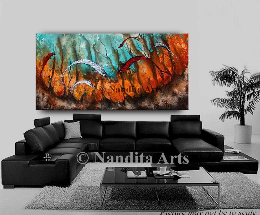 koi fish, animal art, koi painting, seascape art , seascape painting by Nandita Albright