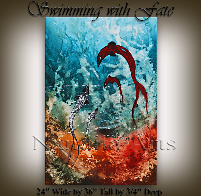 Swimming with Fate Abstract Seascape painting by Nandita Albright