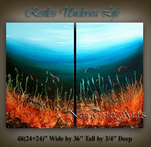Restless Undersea Life Seascape beautiful art by Nandita Albright