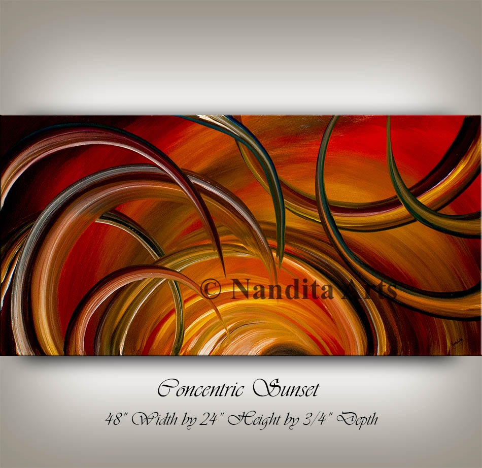 Oil Painting Concentric Sunset