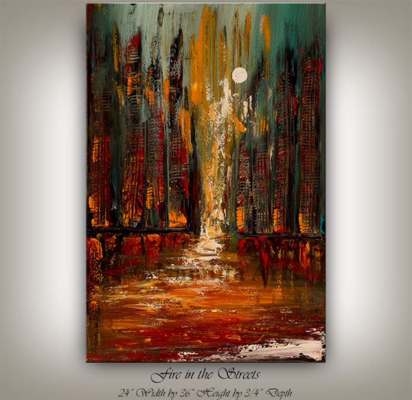 Cityscape Painting Fire in the Streets artwork