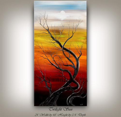 Landscape Painting Twilight Sun