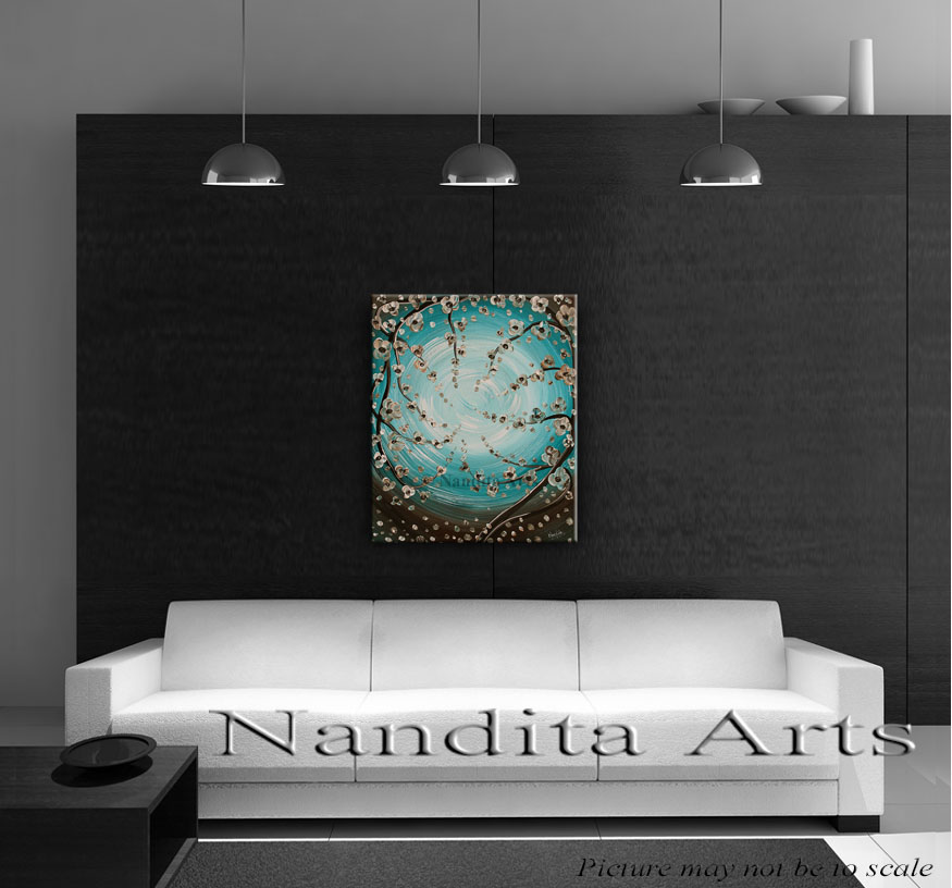 Textured flower painting Ominous Moonlight-6