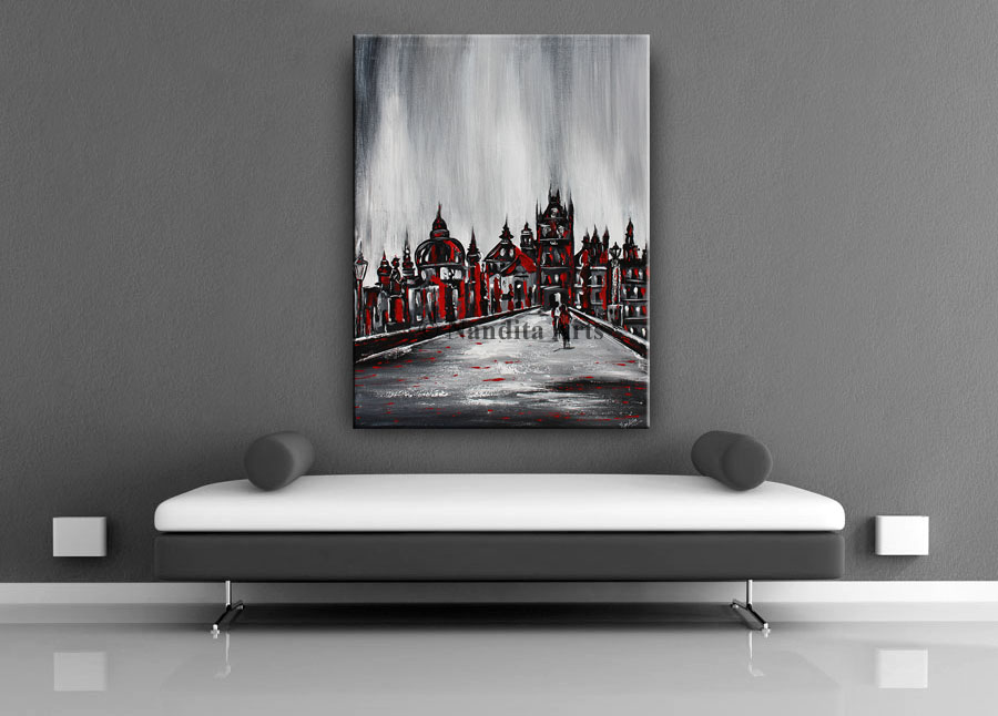 Prague Nights Cityscape red art