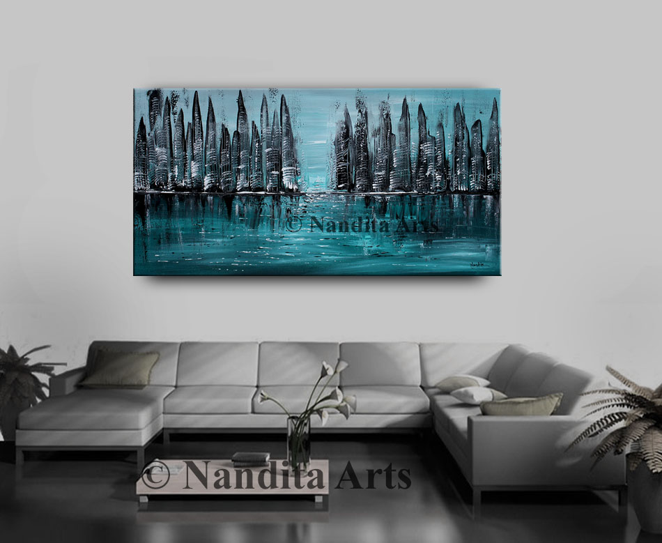 City Scape Art, Cityscape Painting, Turquoise