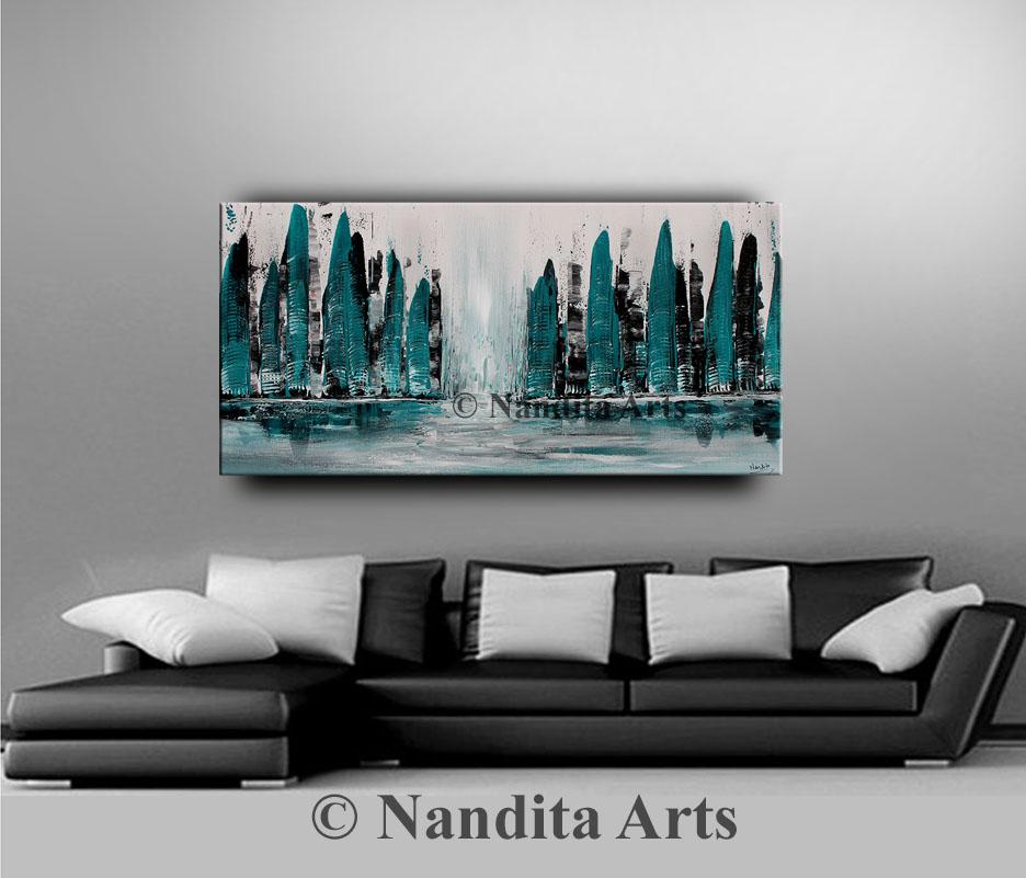 Cityscape Art, Cityscape wall art, Cityscape painting by Nandita Albright