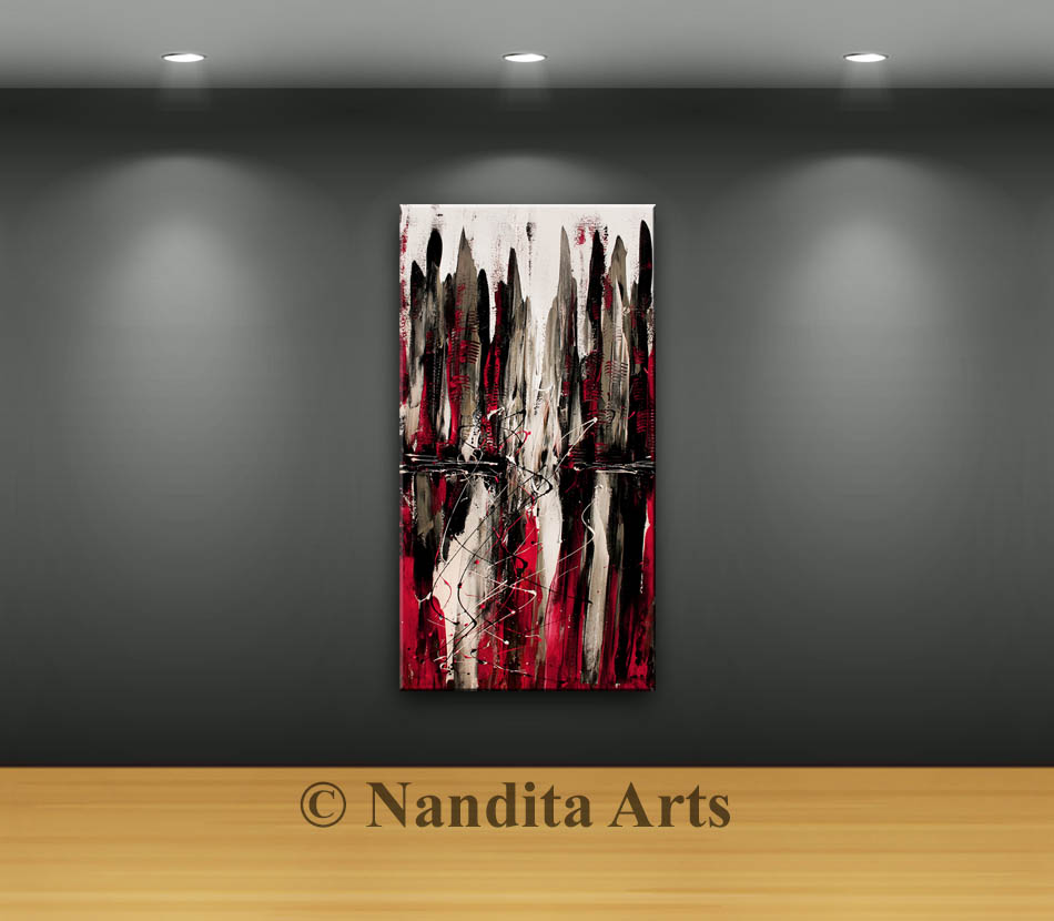 Red Cityscape Art, City Scape Painting by Nandita Albright