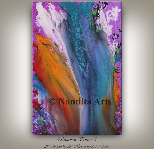 Rainbow Torn, Modern Art, Modern Painting by Nandita Albright
