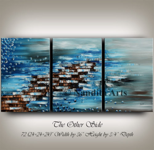Blue, Texture, Large Painting, Modern Art by Nandita Albright