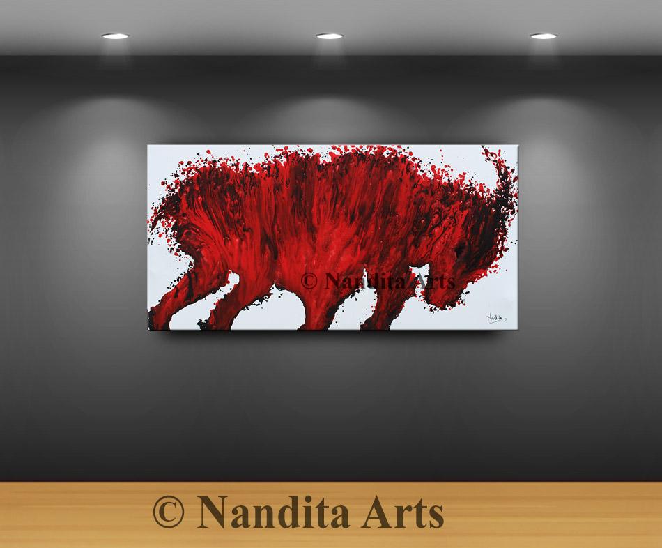 Bull, Red Bull, Bull Modern Art by Nandita Albright