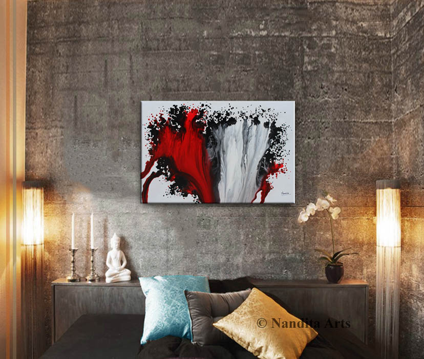Abstract Red Wall Art