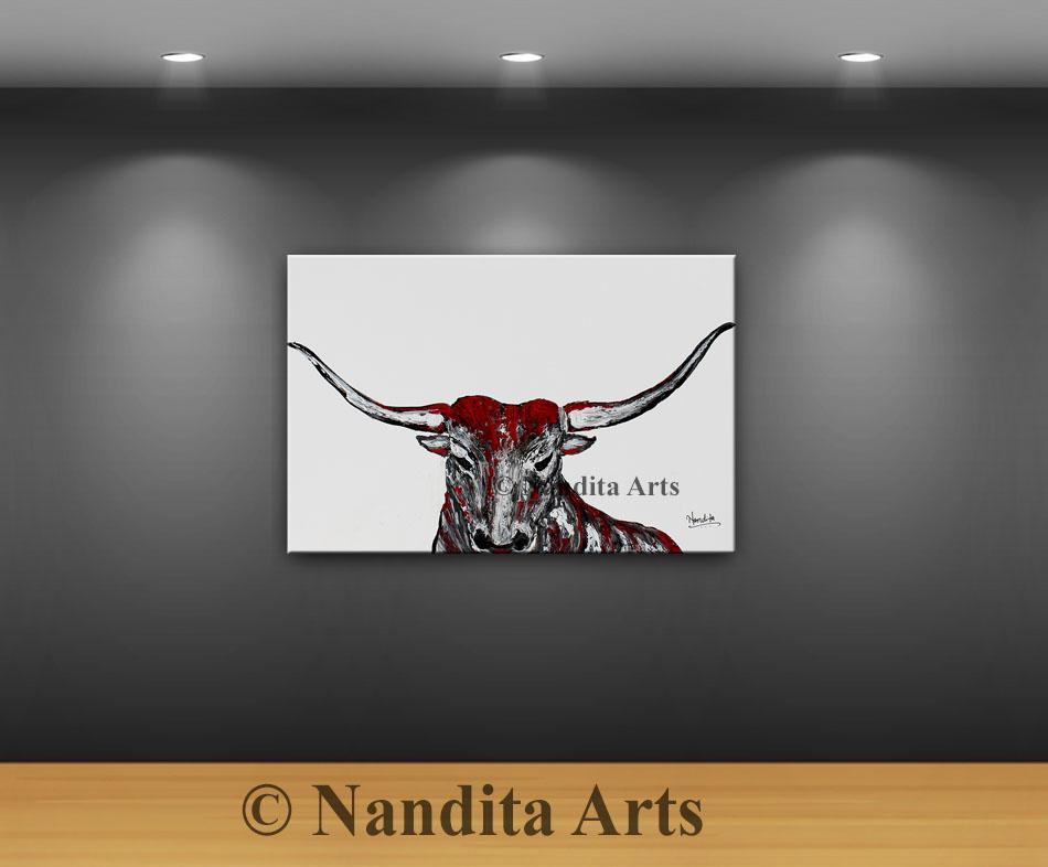 bull, bull horn, bull artwork, bull painting, red bull art