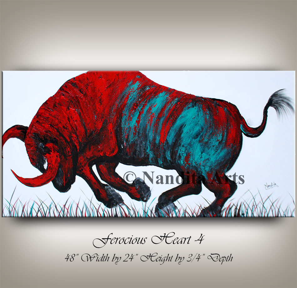 bull art, bull painting, bull artwork