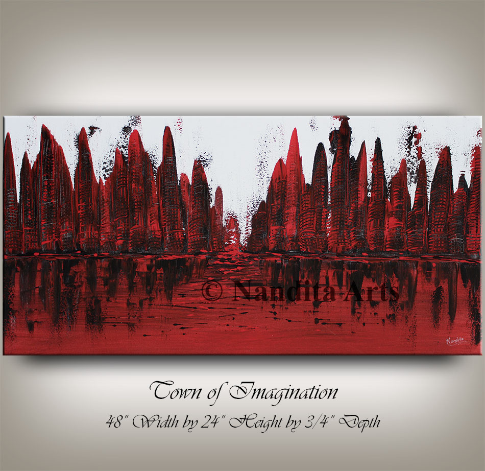 Red Cityscape Art, Painting