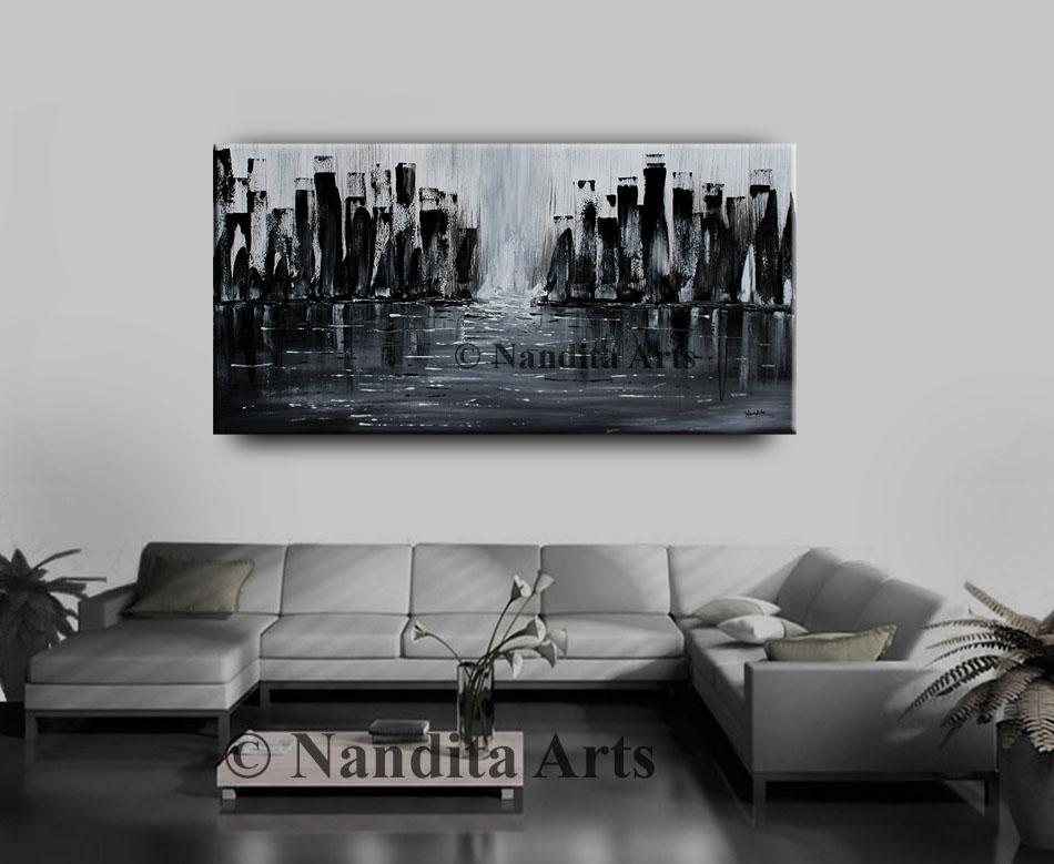 Black Cityscape Painting