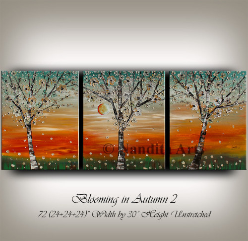 flower art, textured tree art, modern painting