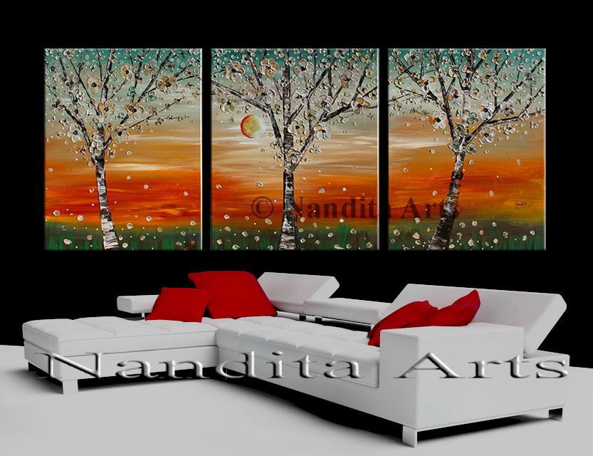 flower art, textured tree art, modern painting