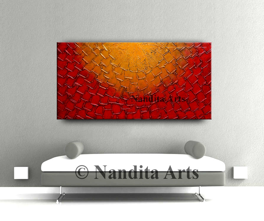 Red and gold, textured art