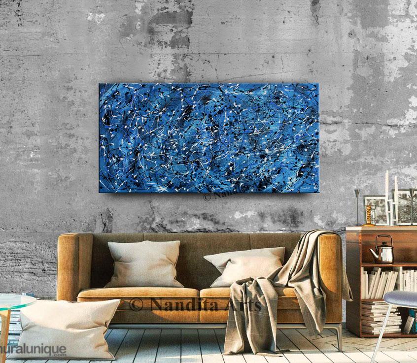 Jackson Pollack Style Blue Painting