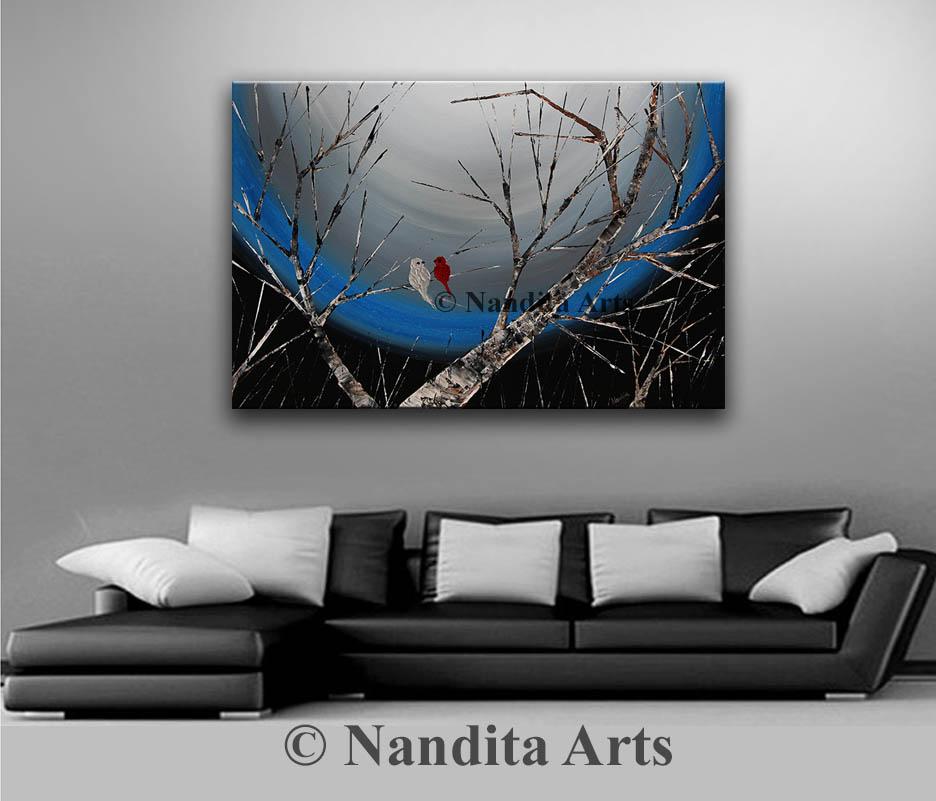 Landscape, Bird art, tree art by Nandita Albright