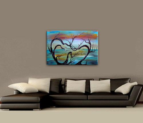 Landscape Art Twilight Sun Painting