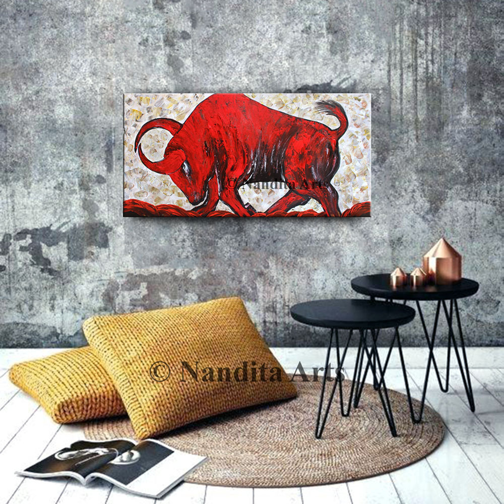 Animal Art Painting, Bull Painting by Nandita Albright