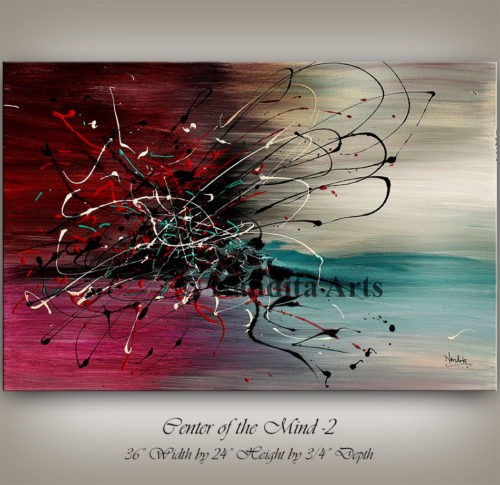 Large Abstract Art, Red, Painting on Canvas