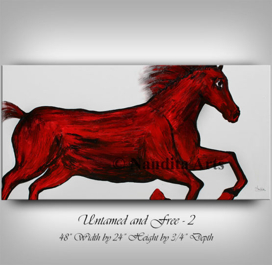 Horse Painting, Horse Art, Animal Art, Red Wall Art