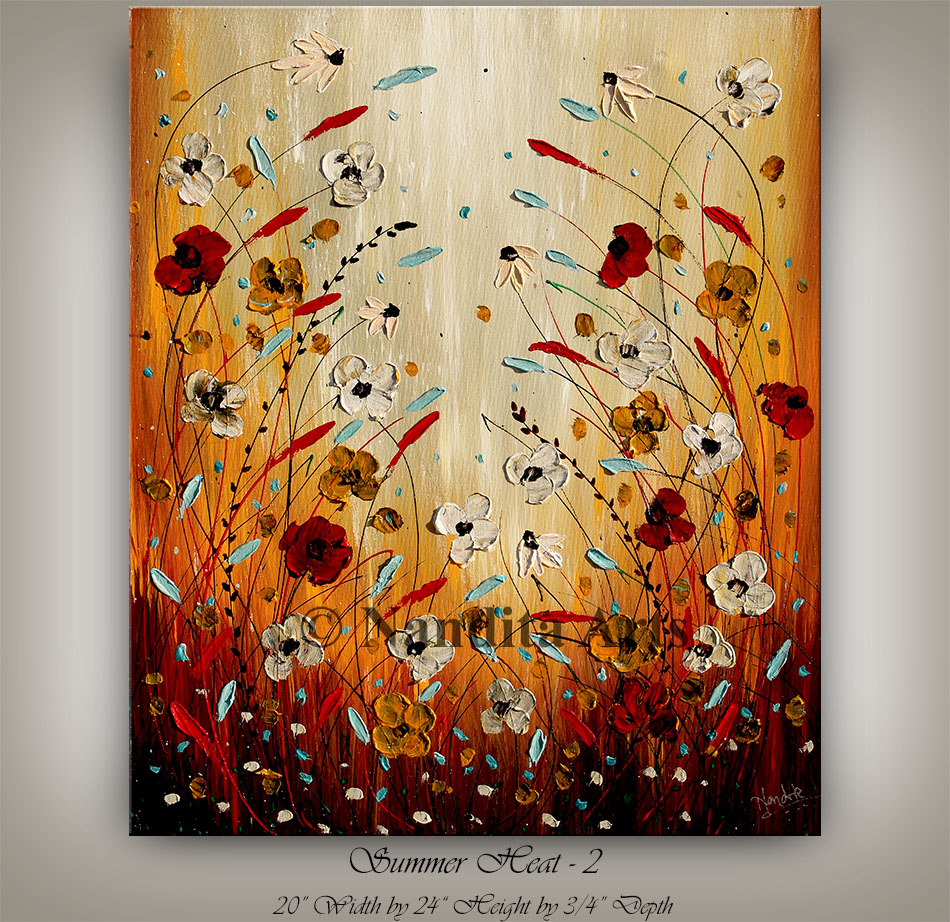 Flower Art on Canvas, Textured Paintings On Canvas For Sale