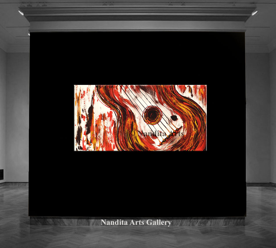 Guitar Art, Guitar Painting by Nandita Albright