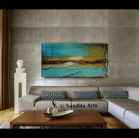 Blue teal landscape art decor